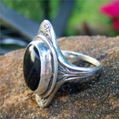 Black and Banded Obsidian silver ring