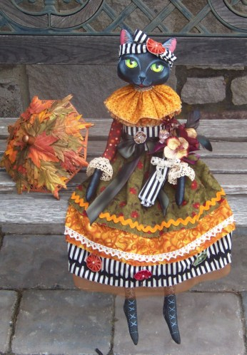 Autumn Black Cat Folk Art Doll by Lisa Nelson