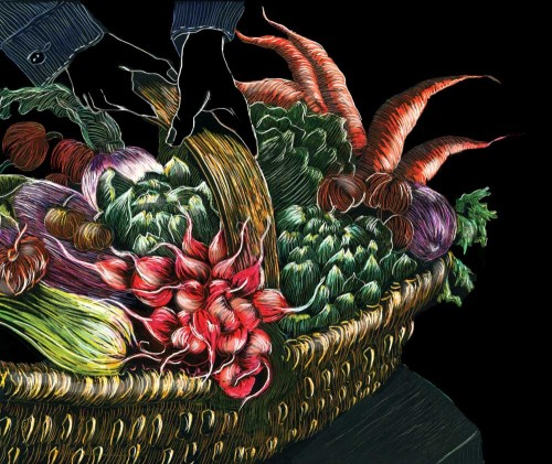 Vegetable Basket Scratchboard by Naquaiya