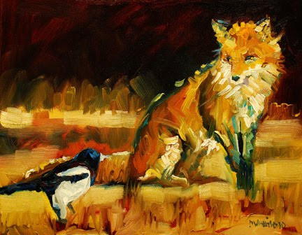 Fox with Magpie by Diane Whitehead
