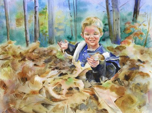 Harry in the Leaves by Kathy Jurek