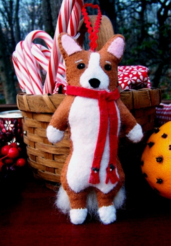Little Corgi Ornament by Cathy Santarsiero