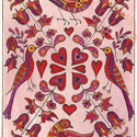 Valentine with Birds and Flowers by Theodora Demetriades