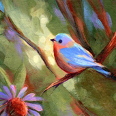 Blue Bird and Cone Flowers by Patricia Christensen
