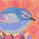 Mosaic Blue Bird by Theodora Demetriades