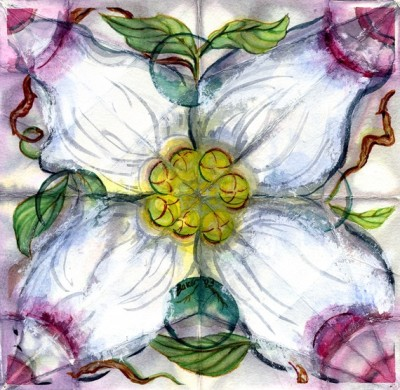 Mixed Media Dogwood Study Caroline Baker $25.00
