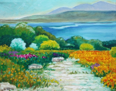 Lake and Flowers Study by Hillary J. England