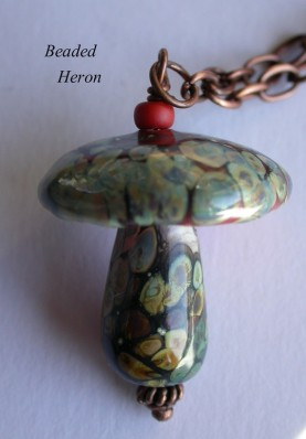 Mushroom Pendant and Necklace by Beaded Heron
