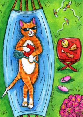 Summer Cat ACEO by Lisa Nelson
