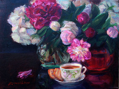Tea and Peonies by Erika Nelson