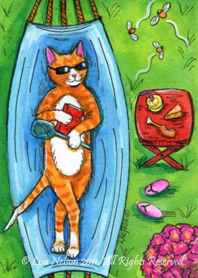 Orange Tabby in Summer by Lisa Nelson at Etsy