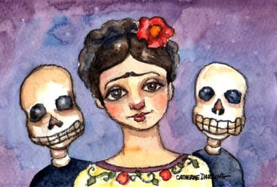Frida Day of the Dead Friends by Cathy Darling on Etsy