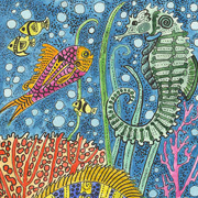 Seahorse and Fish by Theodora Demetriades