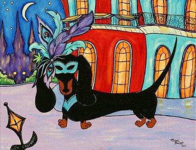 Mardi Gras Dachshund by Melanie Douthit