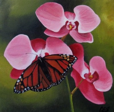 Orchids and Monarch Butterfly by Christine Striemer