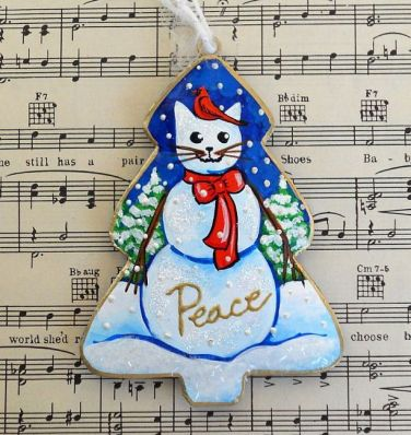 Peace Cat and Cardinal Christmas Ornament by Lisa Nelson