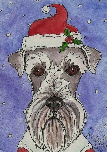 Santa Schnauzer by Melinda Dalke