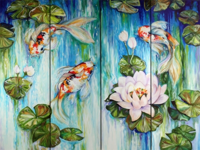 Koi on 4 by Marcia Baldwin