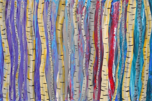Abstract Birch Tree Forest Louise Mead