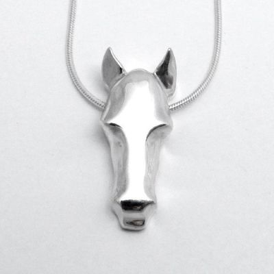 Silver Horse Necklace by Andree Chenier