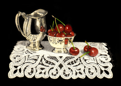 Cherries and Silver by Sandra Willard