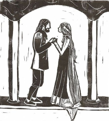 Eowyn and Faramir by Aimee Dingman - Linocut print on parchment