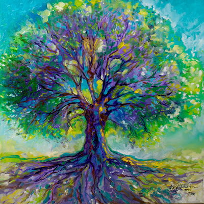 Purple Heart Tree of Life by Marcia Baldwin