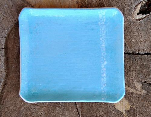 Blue Square Plate by Stephanie Amos