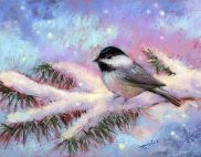 Blackcap Chickadee and First Snowfall by Patricia Lee Christensen