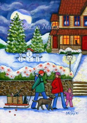 Happy Family at Christmas Framed by Lisa Nelson