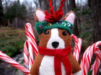 Minnie Corgi Original Art Doll Ornament by Cathy Santarsiero