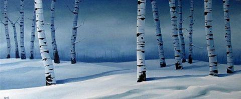Snowy Blue Birch by Christine E Striemer