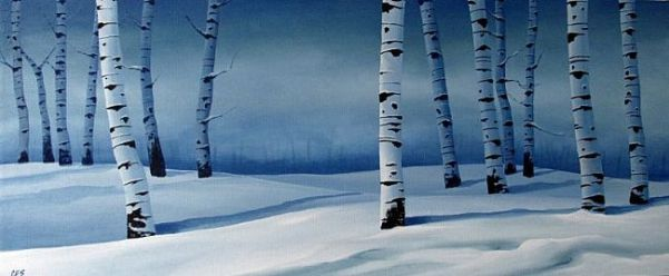 Snowy Blue Birch by Christine E Striemer
