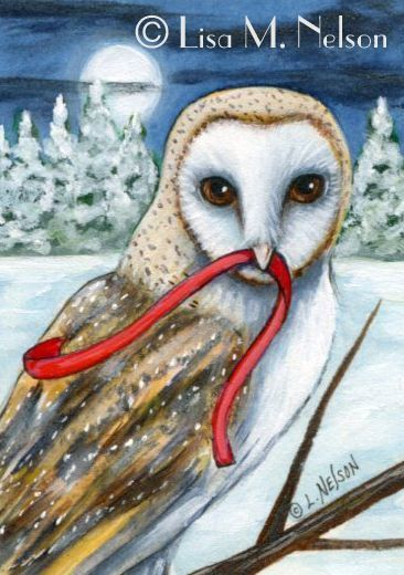 The Red Ribbon Barn Owl by Lisa Nelson