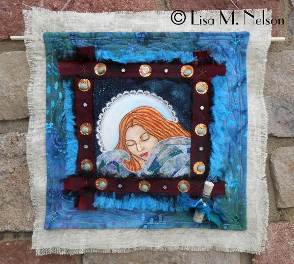 The Sea is my comfort the Moon is my rest Painted Art Quilt