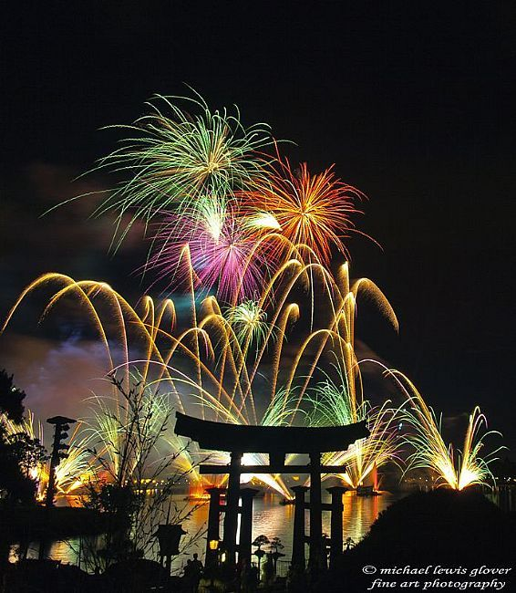 Fireworks Over Torii Gate by Michael Lewis Glover