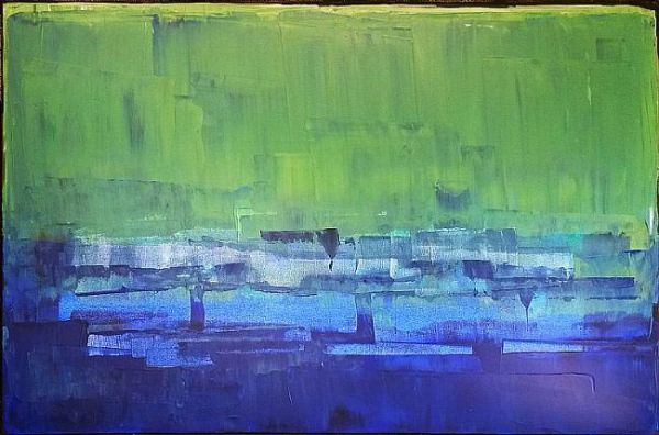 Blue Green Abstraction by Luba Lubin