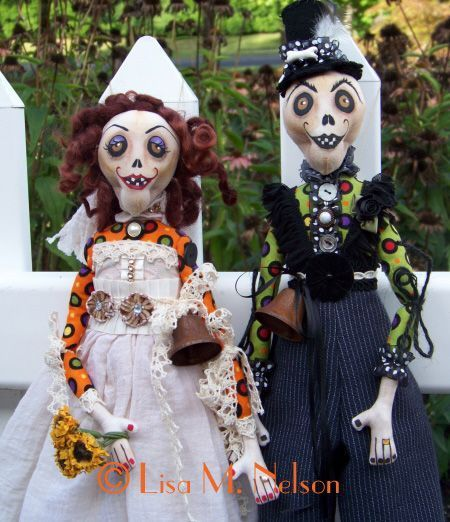 Custom Zombie Bride and Groom Dolls by Lisa M Nelson