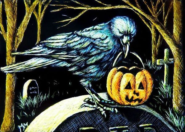 Trick or Treat Crow by Monique Morin Matson