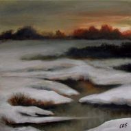 Sunset Over Snowy Creek by CES