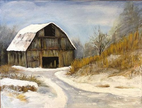 The Old Barn in Winter by Penny Stewart