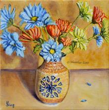 Vase of Daisies Polish Pottery LXXXVIII by Heather Sims